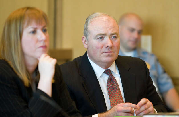 Michael Skakel, right, and attorney Hope Seeley, left, during a hearing at state Superior Court in Stamford, Conn. on Monday, April 23, 2007 to determine if Michael Skakel can get a new trial in his 2002 conviction for the 1975 murder of Martha Moxley in Greenwich, Conn. /Staff photo Ph