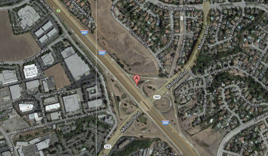 Interstate 680 and Mission Boulevard, Fremont, CA Photo: Google Maps