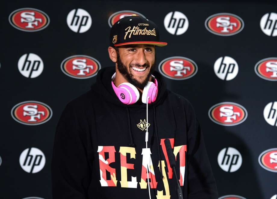 San Francisco 49ers  quarterback Colin Kaepernick  listens  during a press conference in Watford, north of London. Photo: DAVE SHOPLAND/NFL UK, NFL UK