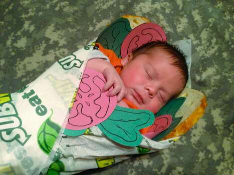 This was a Facebook/Subway inspired Halloween costume for our 4 day old son, Tristan, last year.