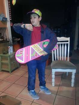 This is my son, Ian, who is 13 years old. He really wanted to be Marty McFly from Back to the Future, but he was very specific that he wanted to be Marty from the future (2015) so he could wear the cool hat and get a hoverboard! :)