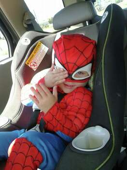 This is my son Lucas on our way to Zoo Boo. 
