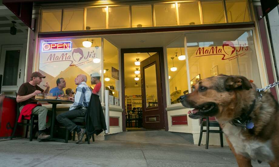 The exterior of Mama Ji's in San Francisco ... with a cute dog. Photo: John Storey, Special To The Chronicle