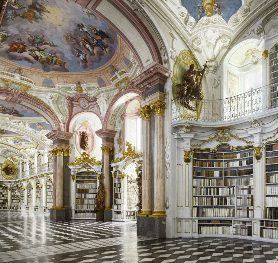 "Admont Abbey Library, 1776. Admont, Austria. The books in the original collection were rebound in white at enormous expense to match the rest of the decorative scheme.From ""The Library: A World History"" by Cambridge University architectural historian James Campbell and photographer Will Pryce. Photo: Will Pryce / This picture can only be used with prior permission and/or agreement of fees with Will Pryce."