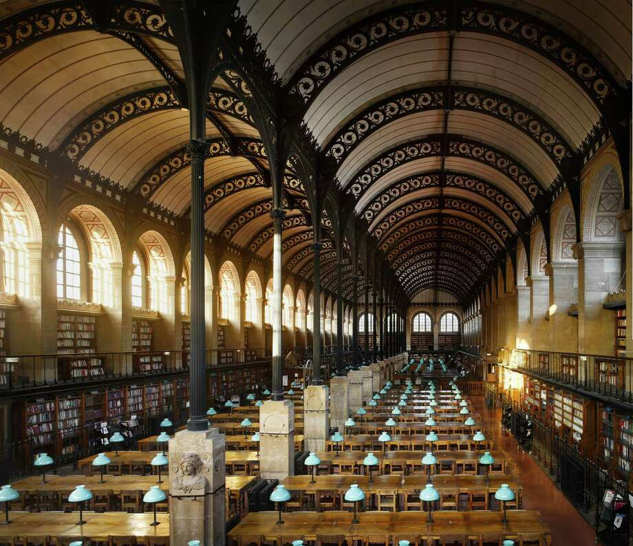 """Bibliothèque Sainte-Geneviève, 1850. Paris, France. The library is 83.5m (274ft) long and 21m (69ft) wide and its famous iron roof is supported on sixteen iron columns.From """"The Library: A World History"""" by Cambridge University architectural historian James Campbell and photographer Will Pryce. Photo: Will Pryce"""