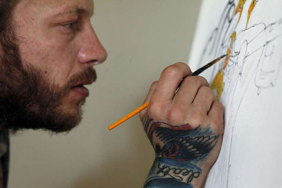 Ari Sonnenberg says most of what he paints he thinks up while on his bike. Photo: Lacy Atkins, The Chronicle