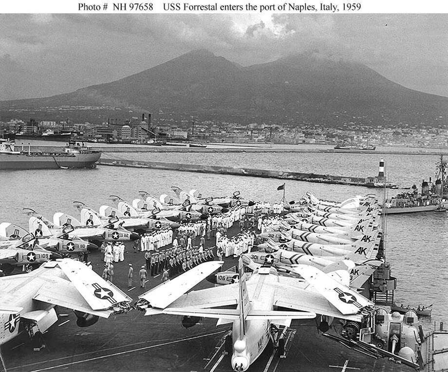 The USS Forrestal in front of Mount Vesuvius in Naples, 1959. (U.S. Navy photo)