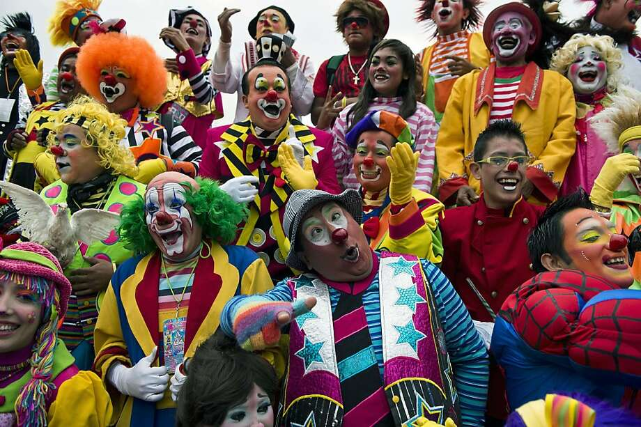 Some of you are not making silly faces. Let's get with the program, people!Group photos at the International Clown Convention in Mexico City are always a challenge. Photo: Ronaldo Schemidt, AFP/Getty Images