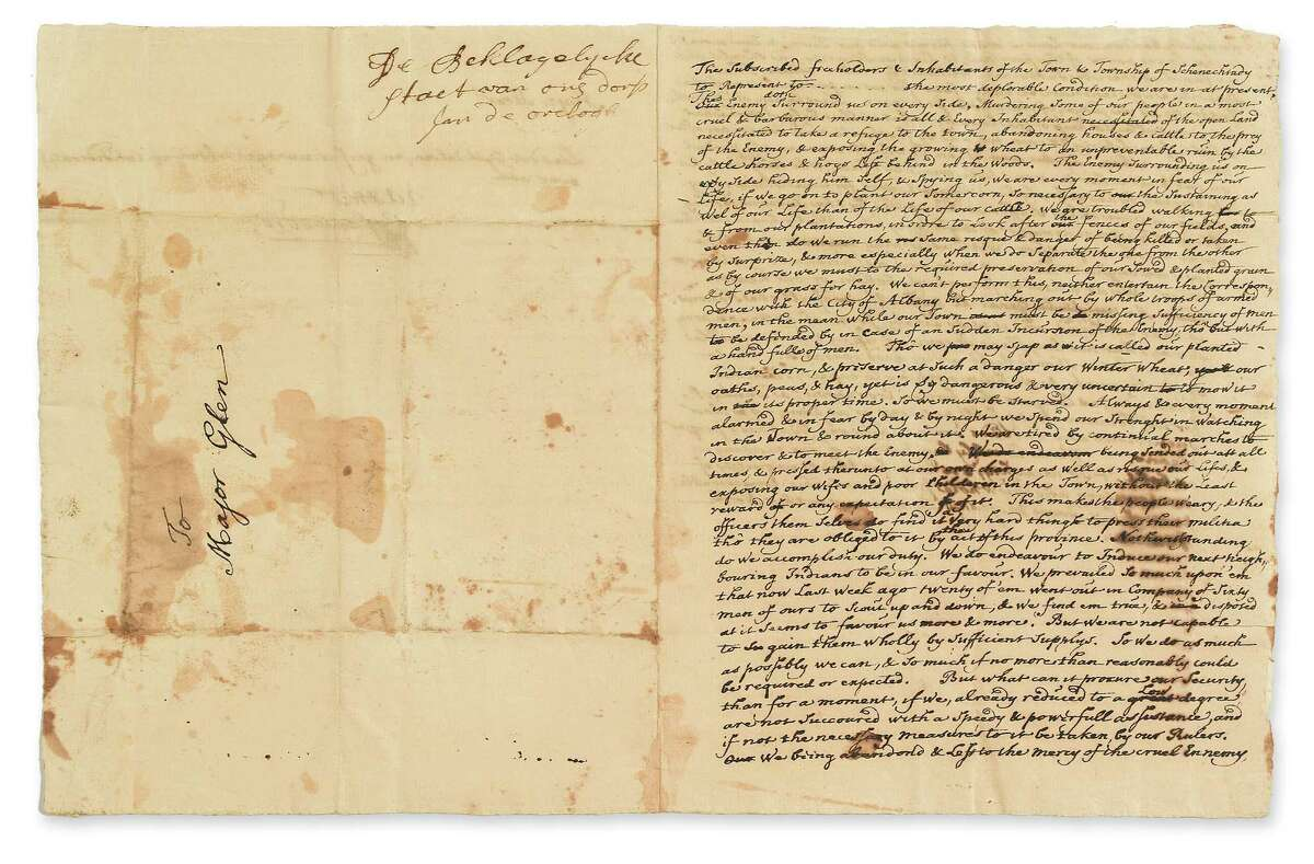 This rare and previously unpublished letter pleading for help from desperate survivors after the 1690 Schenectady massacre will be auctioned Oct. 10 at Swann Galleries in New York City. It was owned by an out-of-state private collector and is estimated to fetch $1,500 to $2,500. (Courtesy Swann Galleries) ORG XMIT: MER2013092010540761