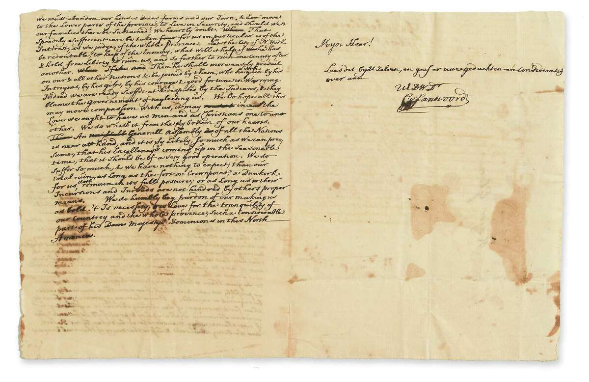This rare and previously unpublished letter pleading for help from desperate survivors after the 1690 Schenectady massacre will be auctioned Oct. 10 at Swann Galleries in New York City. It was owned by an out-of-state private collector and is estimated to fetch $1,500 to $2,500. (Courtesy Swann Galleries) ORG XMIT: MER2013092010544262