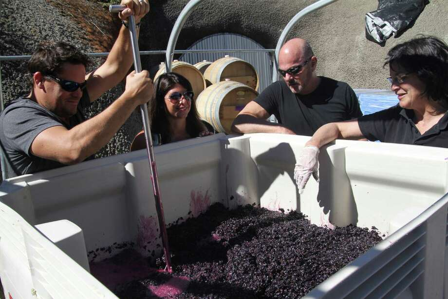 "Visitors take part in ""punching down"" grape skins into the juice at Tres Sabores in St. Helena, Calif., Sept. 26, 2013. The key to a successfully budget-friendly visit to Napa is picking wineries carefully. (Seth Kugel/The New York Times) ORG XMIT: MER2013102217032876 Photo: SETH KUGEL / NYTNS"