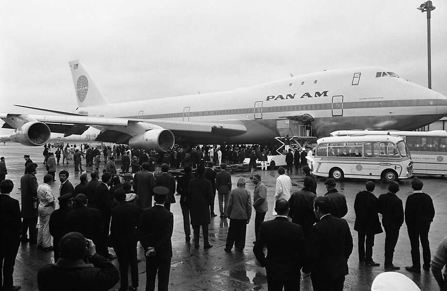 A crowd greets the arrival of a Pan Am flight in 1970, the first Boeing 747 jet to land at Heathrow Airport in London after a trans-Atlantic crossing. There is decreasing demand for the giant aircraft today. Photo: Uncredited, Associated Press
