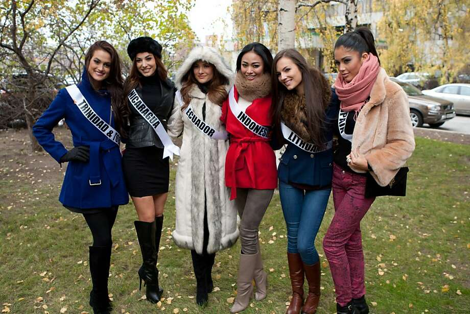 Catherine Miller, Miss Trinidad and Tobago 2013; Nastassja Bolivar, Miss Nicaragua 2013; Constanza Baez, Miss Ecuador 2013; Whulandary , Miss Indonesia 2013; Simona Burbaite, Miss Lithuania 2013; and Patricia Rodriguez, Miss Spain 2013; pose at the Crowne Plaza Moscow World Trade Centre, on Thursday, Oct. 24, 2013, in Moscow. They will compete for the title of Miss Universe Saturday Nov. 9, 2013, in Moscow. Photo: Richard Salyer, Associated Press