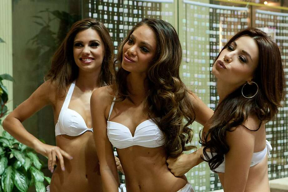 Luna Voce, Miss Italy 2013; Hinarani de Longeaux, Miss France 2013; and Nastassja Bolivar, Miss Nicaragua 2013; pose at the Crowne Plaza Moscow World Trade Centre, on Thursday, Oct. 24, 2013, in Moscow. They will compete for the title of Miss Universe Saturday Nov. 9, 2013, in Moscow. Photo: Richard Salyer, Associated Press