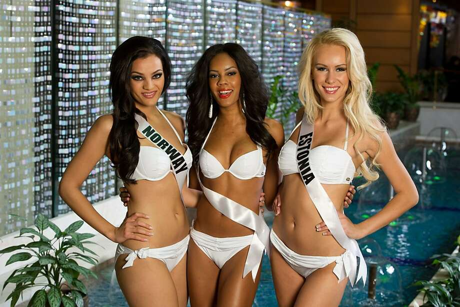 Mari Ekelof, Miss Norway 2013; Lexi Wilson, Miss Bahamas 2013; and Kristina Karjalainen, Miss Estonia 2013; pose at the Crowne Plaza Moscow World Trade Centre, on Thursday, Oct. 24, 2013, in Moscow. They will compete for the title of Miss Universe Saturday Nov. 9, 2013, in Moscow. Photo: Darren Decker, Associated Press