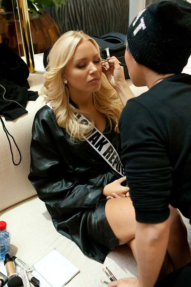 Jeanette Borhyová, Miss Slovak Republic 2013, has her make-up done by artist, Seevon Chau during registration and fittings on Wednesdday, Oct. 23, 2013, in Moscow.  Borhyová will compete for the title of Miss Universe Saturday, Nov. 9, 2013, in Moscow. Photo: Richard Salyer, Associated Press