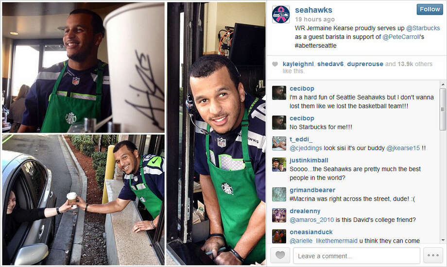 In this photo montage, Seahawks wide receiver Jermaine Kearse is seen serving coffee at a Seattle-area Starbucks on Wednesday. Photo: Screenshot, Instagram