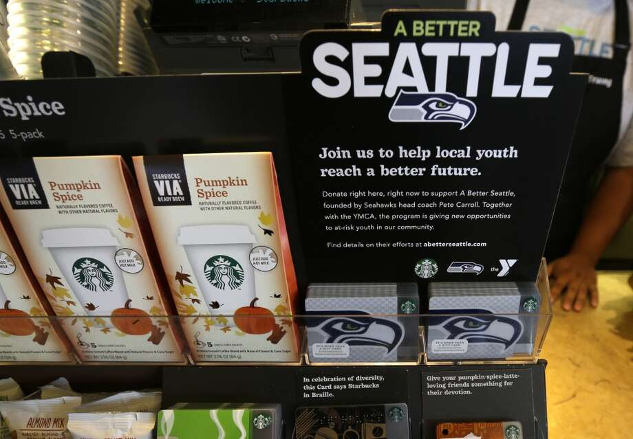 Special Seahawks Starbucks cards are displayed on Wednesday at a store in Seattle. Photo: Ted S. Warren, Associated Press
