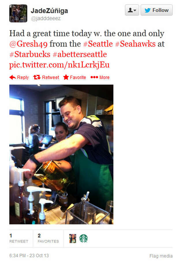 Seahawks long-snapper Clint Gresham works on a Frappuccino at a Seattle-area Starbucks on Wednesday. Photo: Screenshot, Twitter