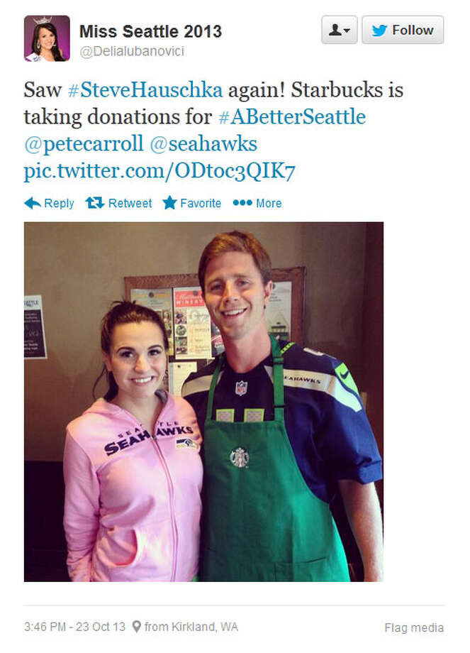 Hauschka poses with Delia Jenny Lubanovici, who is Miss Seattle 2013, at a Seattle-area Starbucks on Wednesday. Photo: Screenshot, Twitter