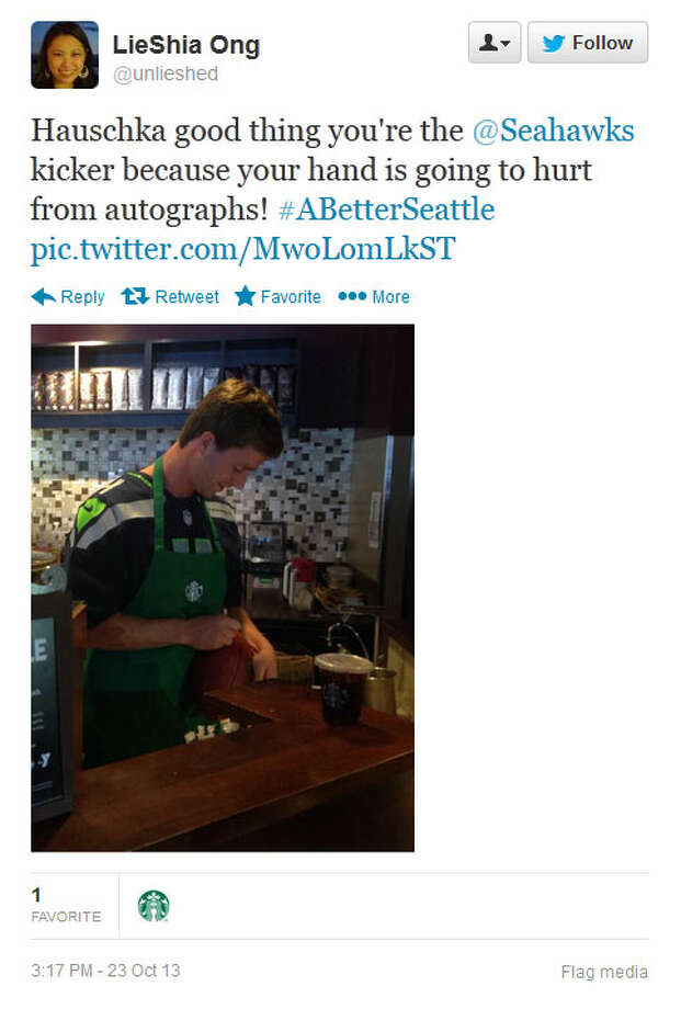 Hauschka signs his autograph on a paper coffee cup at a Seattle-area Starbucks on Wednesday. Photo: Screenshot, Twitter