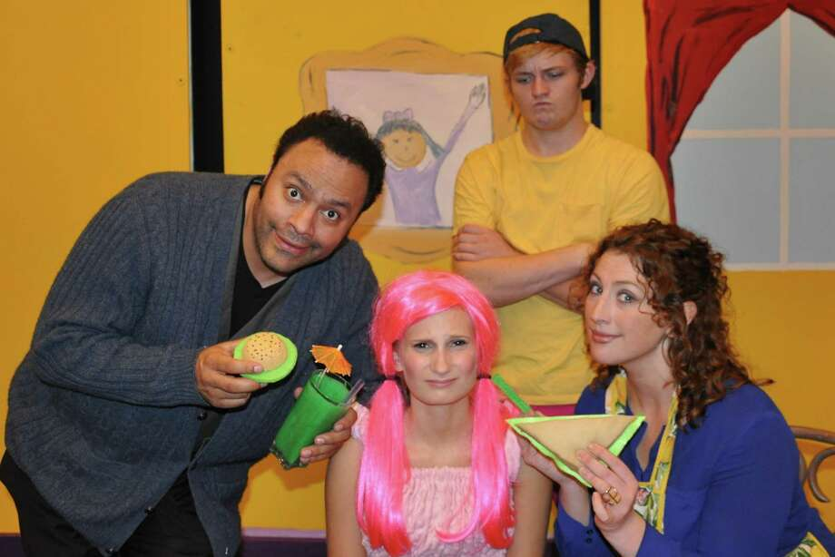 "Ilich Guardiola, from left, as Mr. Pinkerton; Hope Harris, as Pinkalicious; Luke Hamilton, as Peter; and Dana Cretsinger, as Mrs. Pinkerton in ""Pinkalicious."" Photo: Photo By Houston Family Arts Center"