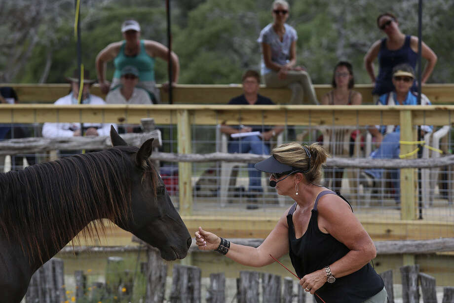 """If you learn nothing else from this workshop, learn to say hello to a horse,"" Linda Salinas, a certified Carolyn Resnick Method trainer from Charlotte, N.C., says as she teaches a workshop at EquiSol Healing Center  near Comfort. Photo: Photos By Lisa Krantz / San Antonio Express-News"