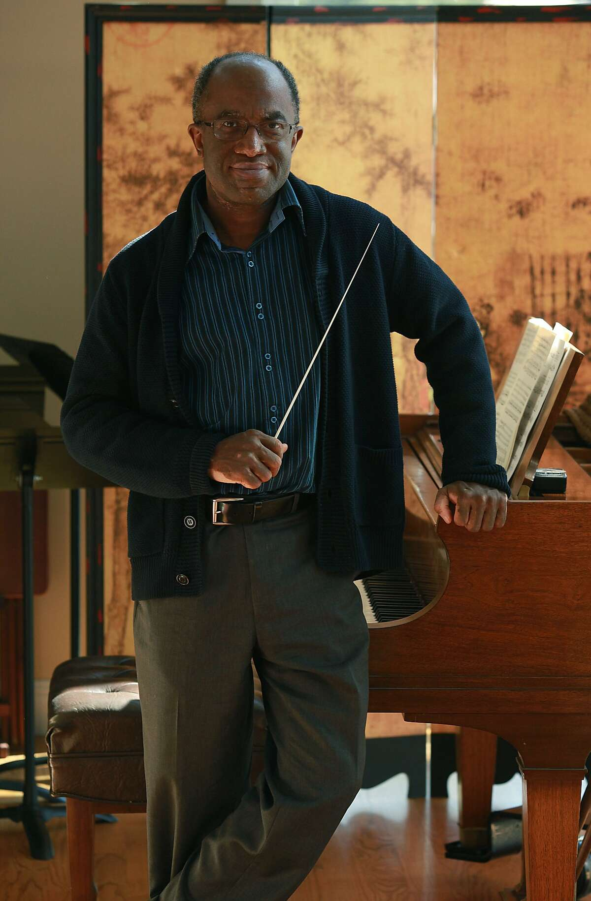 Music director of Oakland East Bay Symphony Michael Morgan at home in Oakland.