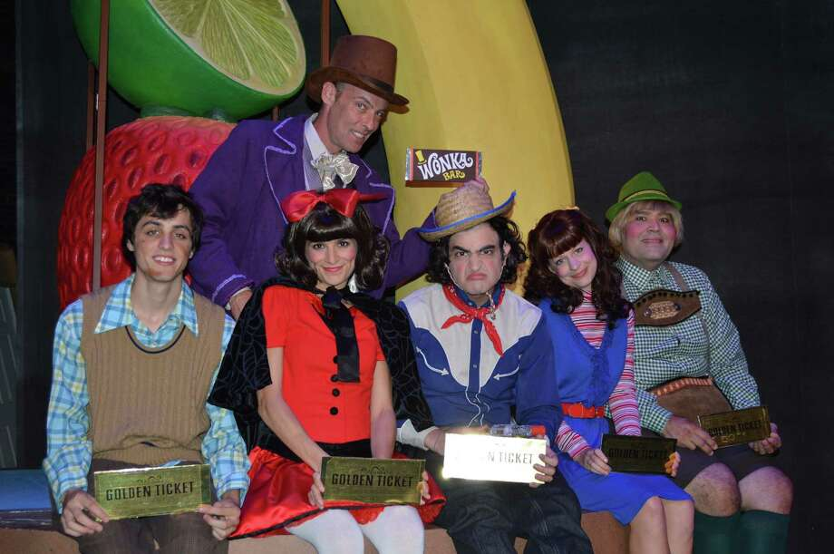 "The cast of ""Willy Wonka"" includes (from left) Anthony Bosmans, Dylan Collins (back), Aimee Stead, Alex Berkowitz, Kacey Griffin and Richard Solis. Photo: Courtesy Magik Theatre"