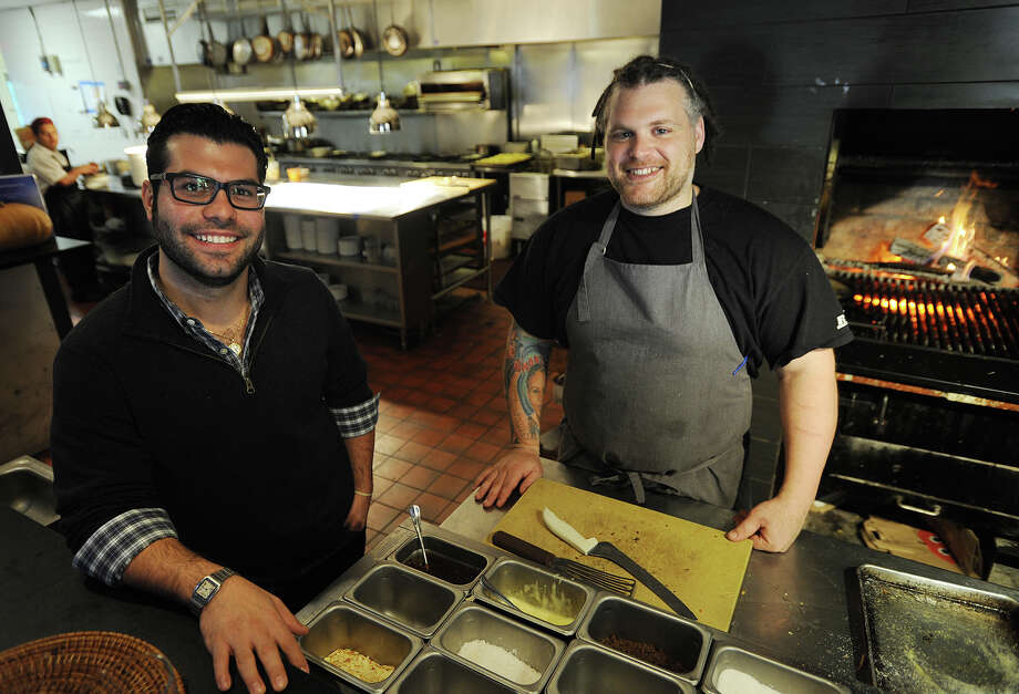 Owner Jon Paul Pirraglia, left, and chef Jeff Taibe at the new Oak + Almond restaurant at 544 Main Street in Norwalk, Conn. on Thursday, October 24, 2013. Photo: Brian A. Pounds / Connecticut Post