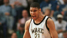 Wake Forest's Tim Duncan reacts after making a shot to tie the score in their game against Louisville in the NCAA Midwest Regionals in Minneapolis on Thursday, March 21, 1996. Duncan was fouled on the shot and his subsequent free throw put Wake Forest ahead to win, 60-59.