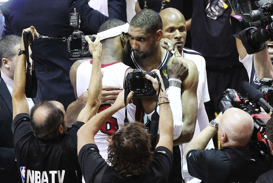 The Spurs' Tim Duncan was less than half a minute from being the one to give LeBron James a consolation hug in the NBA Finals, but a Game 6 lead fell apart. Photo: Kin Man Hui / San Antonio Express-News