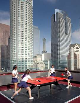 "Playing ping pong on the roof of ""The Standard, Downtown LA."""