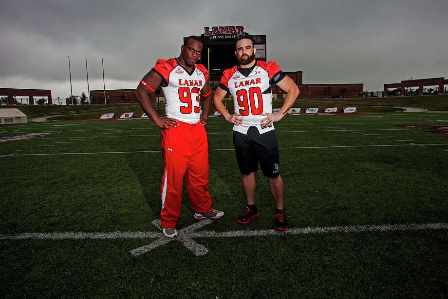 "Senior defensive ends, Mark Murrill (from right), and Jesse Dickson,  stand on the Lamar Provost Humprey field Tuesday, Oct. 22, 2013. They call me salt and Mark pepper ,"" said Dickson. Michael Rivera/ The Enterprise"