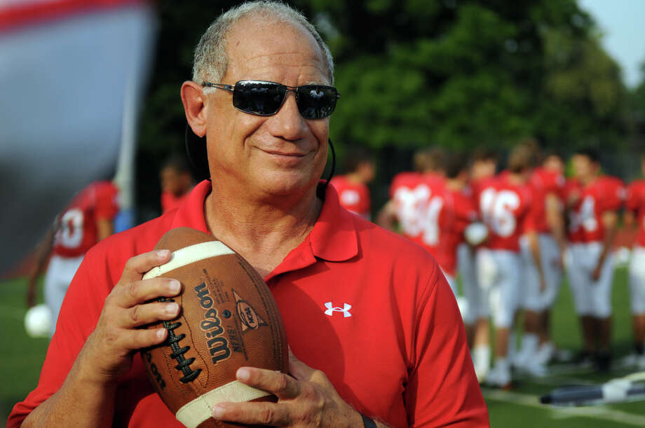 The Greenwich High School football team Coach Rich Albonizio Photo: Keelin Daly / Stamford Advocate Freelance