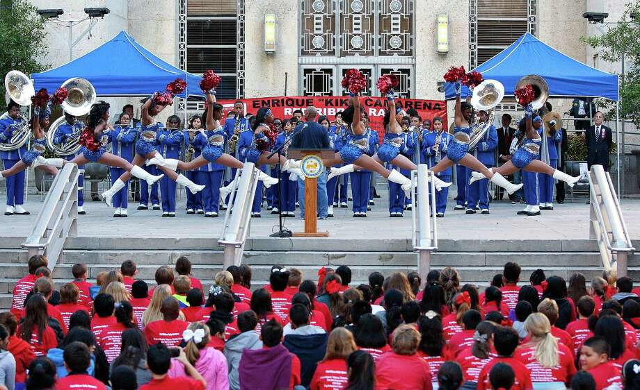 "More than 500 middle school students from the greater Houston area watched the Westbury High School band and dance team perform as they attended the 20th Annual Enrique ""Kiki"" Camarena Red Ribbon Rally promoting a drug free lifestyle. Photo: Johnny Hanson, Houston Chronicle / Houston Chronicle"