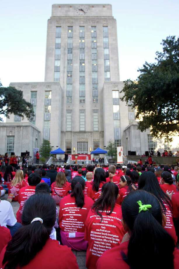 "More than 500 middle school students from the greater Houston area attended the 20th Annual Enrique ""Kiki"" Camarena Red Ribbon Rally promoting a drug free lifestyle. Photo: Johnny Hanson, Houston Chronicle / Houston Chronicle"