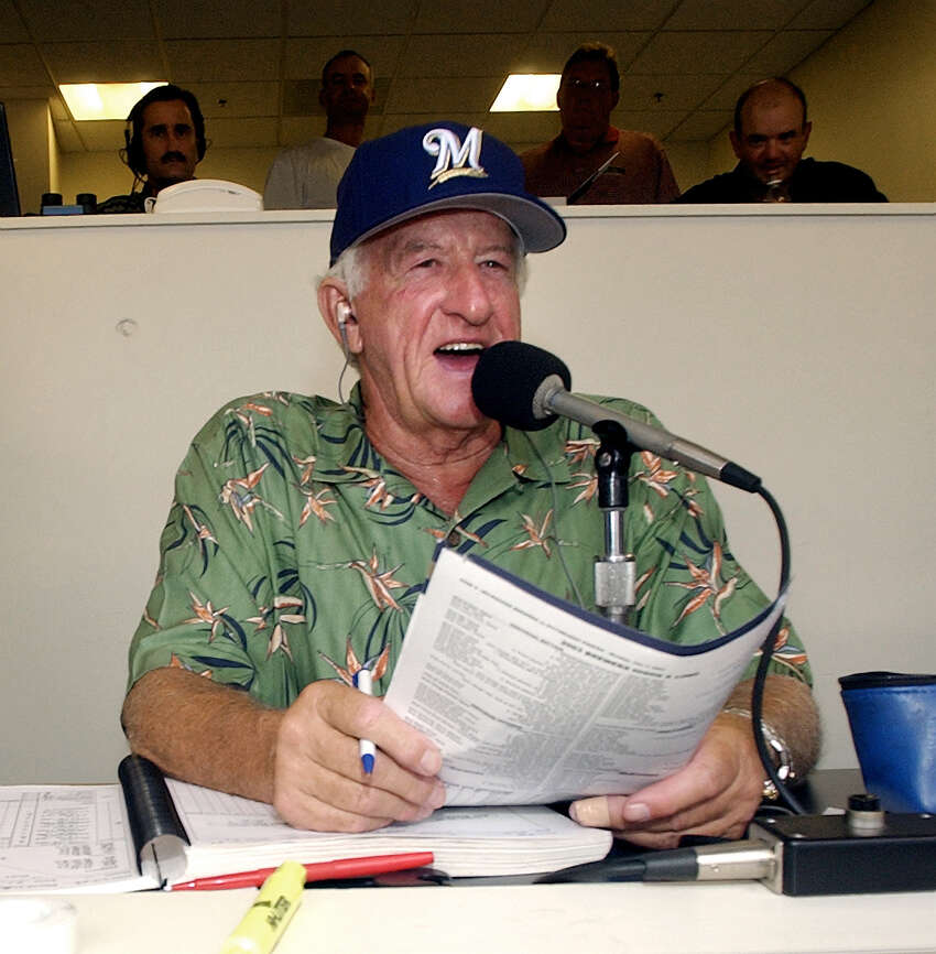 * ADVANCE FOR WEEKEND EDITIONS JULY 26 27 ** Milwaukee Brewers' radio announcer Bob Uecker works out of the radio booth during a game against the Pittsburgh Pirates Monday, July 7, 2003, at Miller Park in Milwaukee.