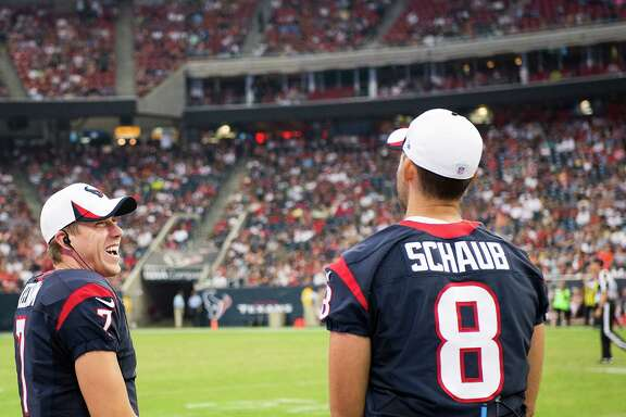 Case Keenum, left, was doing anything but laughing after seeing the Texans lose in his NFL debut, which came only after an injury to starter Matt Schaub.