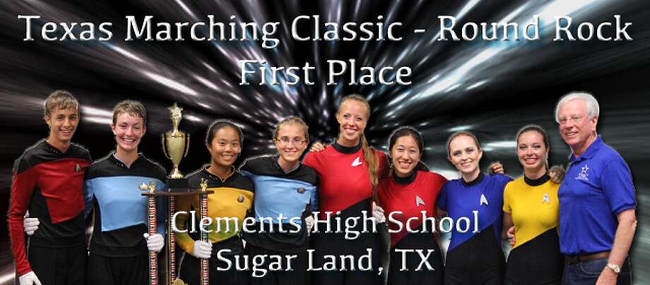 "The Clements High School Marching Band found inspiration from ""Star Trek"" for the drum major and color guard uniforms. Photo: Courtesy Of Texas Marching Classic"