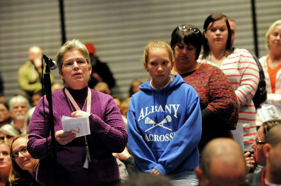 Kathy Neuffer, a special education teacher at Greenville Central Schools, left, makes her comments during a forum on the Common Core curriculum on Thursday, Oct. 24, 2013, at Myers Middle School in Albany, N.Y. (Cindy Schultz / Times Union) Photo: Cindy Schultz / 00024364A