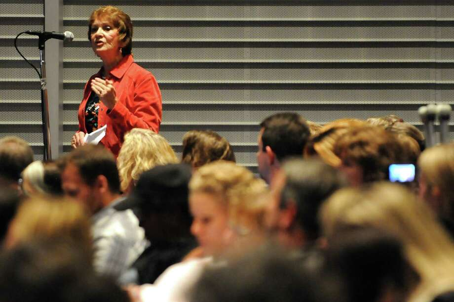 Marilyn Held, a retired teacher from Rensselaer City Schools, left, makes her comments during a forum on the Common Core curriculum on Thursday, Oct. 24, 2013, at Myers Middle School in Albany, N.Y. (Cindy Schultz / Times Union) Photo: Cindy Schultz / 00024364A