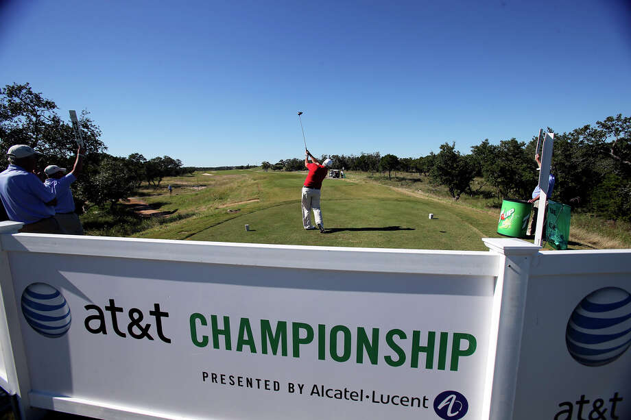 Scott Simpson tees off on 15 at the AT&T Canyons Course, TPC San Antonio during the pro am for the AT&T Championship on October 23, 2013. Photo: Tom Reel, San Antonio Express-News