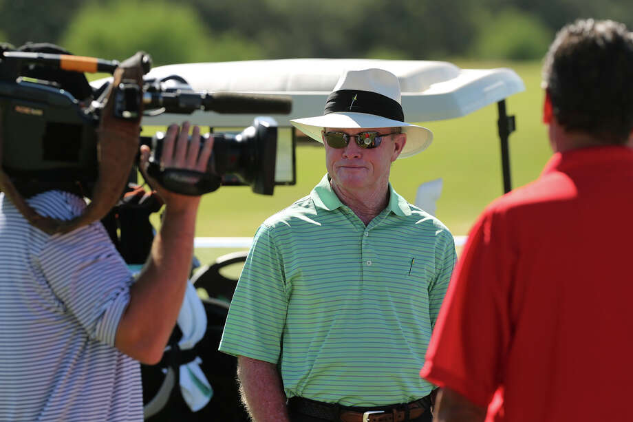 Professional golfer Tom Kite is interviewed by the Golf Channel before participating in the AT&T Championship Pro-Am at the Canyons Course of TPC San Antonio, Thursday, Oct. 24, 2013. Photo: Jerry Lara, San Antonio Express-News / ©2013 San Antonio Express-News