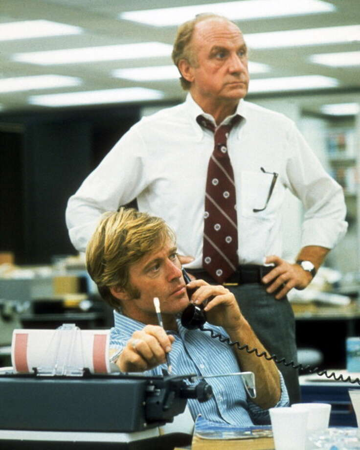 Robert Redford and Jack Warden (1920-–2006) in a still from the film, 'All the President's Men', USA, circa 1976. The film, adapted from the book by Carl Bernstein and Bob Woodward, and directed by Alan J. Pakula, starred Redford as 'Bob Woodward' and Warden as Harry M. Rosenfeld. (Photo by Silver Screen Collection/Getty Images) Photo: Silver Screen Collection, Getty Images / 2011 Silver Screen Collection