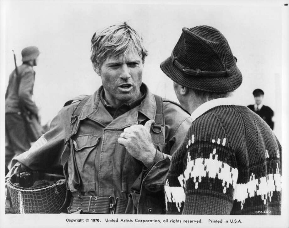 Robert Redford wears army uniform speaking to man in a scene from the film 'A Bridge Too Far', 1977. (Photo by United Artists/Getty Images) Photo: Michael Ochs Archives, Getty Images / 2011 Getty Images
