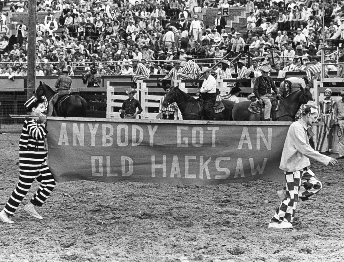 Rodeo clowns at the 1965 Texas Prison Rodeo