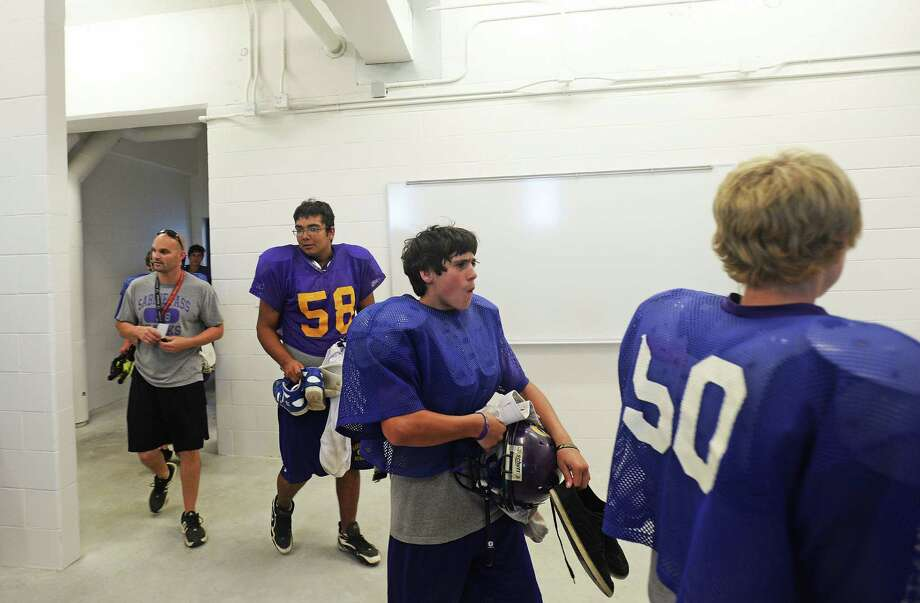 Sabine Pass varsity football players walk into their newly constructed locker rooms Wednesday. Michael Rivera/The Enterprise Michael Rivera/The Enterprise
