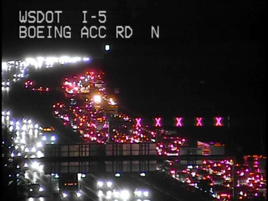 Traffic cameras show the backup on northbound Interstate 5. From the Washington Department of Transportation.