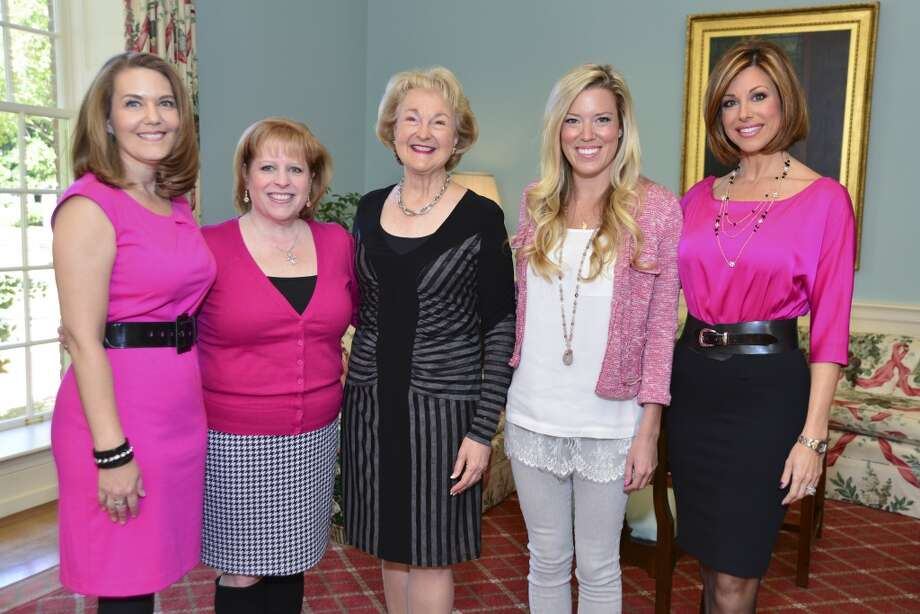 American Cancer Society's Tickled Pink Luncheon at the Junior League of Houston. Betti Guzman, Sandy Biggers, Joanie Haley, Holly Smith and Dominique Sachse. Photo: CatchLight Group